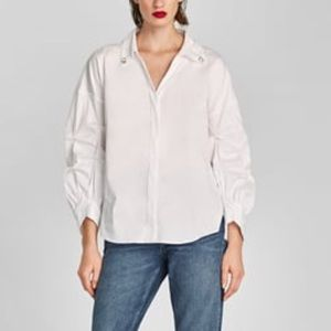 Zara White Button Down w/ rhinestones